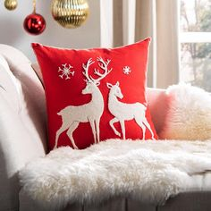 Safavieh Mitzi Christmas Reindeer 18 inch x 18 inch Decorative Holiday Pillow, Red Christmas Sewing, Diy Christmas Ornaments, Christmas Crafts, Christmas Decorations, Reindeer Decorations, Christmas Store, Christmas Deals, Thanksgiving Decorations, Red Christmas