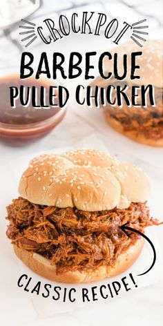 Pulled Chicken Recipes, Easy Bbq Chicken, Pulled Chicken Sandwiches, Crockpot Bbq Pulled Chicken, Crock Pot Pulled Pork, Bbq Sandwich, Chicken Sandwich Recipes, Boneless Chicken, Grilled Chicken