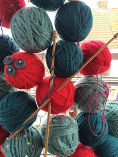 Behind the scenes at Seasalt's window design studio.  Knitted Christmas 2014, designed and handmade by Kathryn, Tara and Janet.