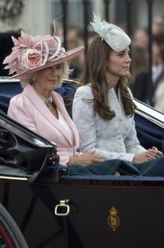 (L-R) Camilla, Duchess of Cornwall, Catherine and Duchess of Cambridge travel in a carriage during Trooping the Colour - Queen Elizabeth II's Birthday Parade, at The Royal Horseguards on June 14, 2014 in London, England.