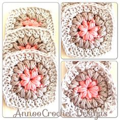 Triangle and Square Puff Granny, free pattern by Annoo's Crochet World