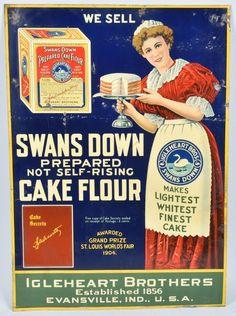 SWANS DOWN CAKE FLOUR TIN SIGN