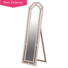 Shabby Chic, Raw Wooden Window Style Cheval Mirror : Beau Decor