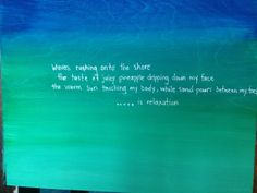 More poetry and art created at a teacher's art workshop. The workshop inspired the teachers with ideas for their classrooms.