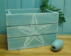 Wooden Crate Box Side Table With Crab or Starfish Beach House Decor