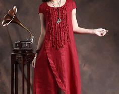 Linen Dress Ruffle Linen Dress in Orange linen by camelliatune