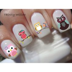 Image via We Heart It https://weheartit.com/entry/154239508 #cute #girly #inspiration #nailart #nailpolish #nails #owls #pattern #pretty #print #vintage