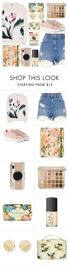 """TAN."" by valemx ❤ liked on Polyvore featuring Burberry, River Island, Rifle Paper Co, Kate Spade, Claus Porto, NARS Cosmetics, Sunday Somewhere, Paul & Joe and Burt's Bees"