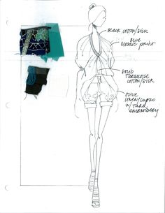 Fashion Sketchbook - fashion drawing and fabric swatches, the fashion design process