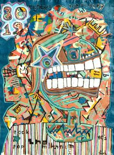 """80's,"" expressionist street art painting by Jonas Fisch 