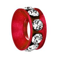 Birthstone Charms Red Ring Crystal Clear Beads