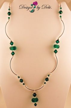 Emerald Lampwork and Crystal Silver Scalloped Necklace