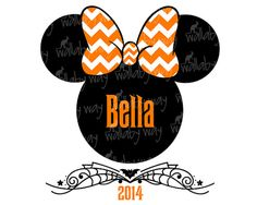 Disney Halloween Minnie Chevron Bow Printable Iron On Transfer or Use as Clipart by TheWallabyWay on Etsy - Perfect for Mickey's Not So Scary Halloween Party! - See matching Mickey design too!