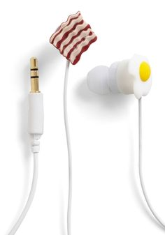 Bacon and Egg Earbuds  Cute, a two strips of bacon would have been better though.