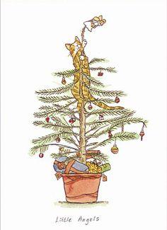 Little Angels - Anita Jeram Mehr Noel Christmas, Christmas Cats, Christmas Greetings, Winter Christmas, Illustration Noel, Christmas Illustration, Christmas Drawing, Christmas Printables, Christmas Pictures
