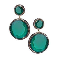 Hari Jewels Diamond Green Onyx Circle Drop Earrings ($2,535) ❤ liked on Polyvore
