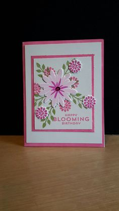 Stampin up flower patch set. I used a dauber to color the edges of the layers to match one of the flowers.