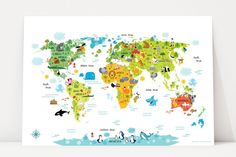 nursery decor, kids room decor, wall decals for kids, kids world mpa, world map for kids, baby boy nursery, kids playroom, playroom decor, world map picture, maps for kids