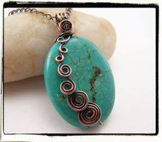 I LOVE RECURSION! you make those spirals grow in a linear fashion girl!    Blue Turquoise Freeform Antique Copper Spirals by FashionWire