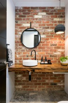 20 Masculine Bathroom Ideas With Exposed Brick Walls Bathroom Decor Ideas Bathroom Brick Exposed Ideas Masculine walls Brick Tiles Bathroom, Small Bathroom Sinks, Modern Bathroom Tile, Small Sink, Bathroom Tile Designs, Wood Tiles, Minimalist Bathroom, Shower Tiles, Rustic Tiles
