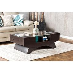 malla white glass insert storage coffee table - kmart | home
