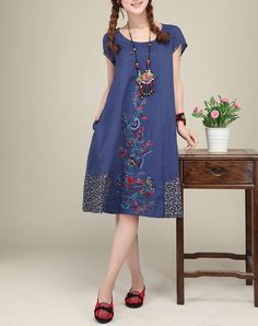 Blue linen dress original dress Folk style por originalstyleshop, $75.00