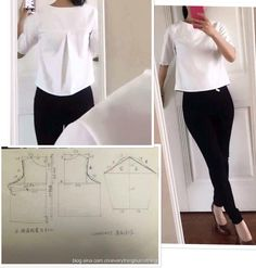 White top Sewing Patterns Free, Clothing Patterns, Dress Patterns, Diy Clothing, Sewing Clothes, Fashion Sewing, Diy Fashion, Sewing Hacks, Sewing Tutorials