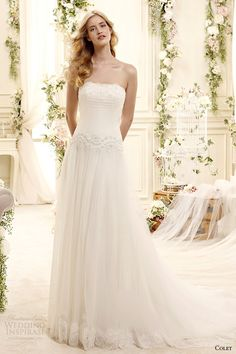 colet bridal 2015 style 47 coab15220iv strapless straight across neckline column wedding dress