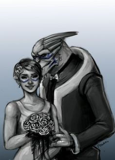 Shepard and Garrus http://tainted-knight.tumblr.com/