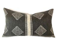 Authentic Mudcloth Pillow, Vintage Mali Bogolan Black/Blue Ground with White/Off-White Geometric Long Diamond, Line, Designs