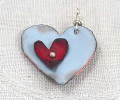 Copper heart pendant enameled pale blue by tattooedgrannysgoods