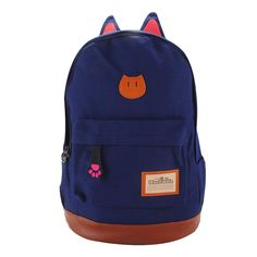 7.08$  Watch now - Canvas Backpack For Women Girls Satchel School Bags Cute Rucksack School Backpack children Cat Ear Cartoon Women Bags   #aliexpress