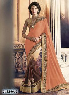 Enriching Brown and Off White Coloured Georgette Embroidered Saree
