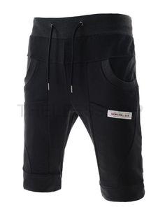 (EB7P02) ザ・リースメンズスリム セミ バギー プリント パッチ付き トレーニング パンツ