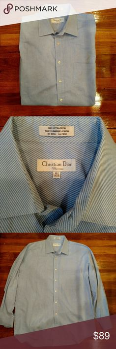 ◼ Christian Dior Men's Button Down Shirt Sz 34/35 Christian Door Chemises Men's Button down shirt.  Pinstriped.   Perfect condition. Christian Dior Shirts Dress Shirts