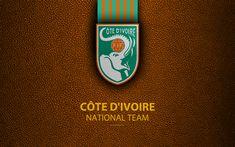 Download wallpapers Ivory Coast national football team, The Elephants, 4K, leather texture, Africa, Federation Ivoirienne de Football, FIF, emblem, logo, Cote dIvoire, football, Ivory Coast