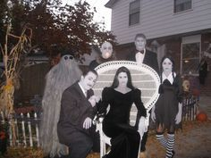 Addams family homemade diy halloween costumes uncle fester cousin itt morticia gomez wednesday lurch