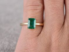 Natural Emerald Wedding Ring Yellow Gold,Emerald Engagement Ring For Sale | MyRayGem
