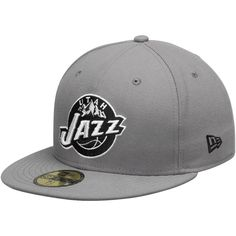 best service 4f6ed 954b1 Mens Utah Jazz New Era Gray Black 59FIFTY Fitted Hat, Sale   24.99 - You  Save   10.00