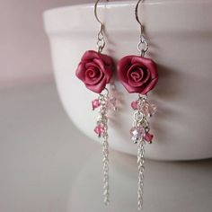 Maroon Rose Dangle Earrings Polymer Clay por beadscraftz en Etsy