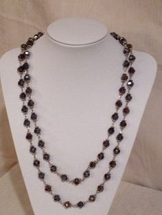 60 inch glass crystal necklace, purple.