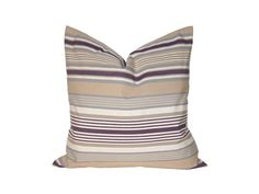 """18"""" x 18"""" Designer Pillow Cover / Decorative Throw Pillow / Accent Cushion Cover / Pillow Case (Tan, Purple and White Stripes)"""