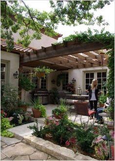 Wonderful Courtyard Pergola Architectural Panorama Design...