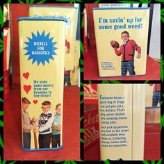 """Just in is our """"Nickels for Narcotics"""" tin bank. This bank will add humor to any gift or is a great way to save money for your trip to Colorado. """"Touchdowns are for losers! The only thing I wanna score is some good drugs!"""" #moneybank #tinbank #funny #Sophias #shopsophias #gifts #Colorado #weed"""