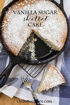 The Best Vanilla Cake Recipe from Scratch This Vanilla Sugar Skillet Cake Recipe is baked in a cast iron skillet and uses basic pantry ingredients. It's light, moist and delicious! Cast Iron Skillet Cooking, Iron Skillet Recipes, Cast Iron Recipes, Skillet Meals, Skillet Food, Köstliche Desserts, Delicious Desserts, Dessert Recipes, Yummy Food