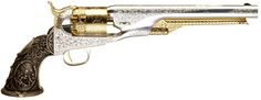 Exquisite Tiffany hand-engraved 1861 Colt Navy black powder revolver.