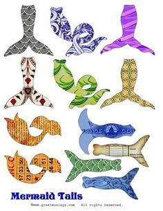 Digital collage sheet of Mermaid tails - great for altered art dolls. Pictures of Digital Collage Sheets show at a LOW RES for LISTING ONLY. Mermaid Cove, Mermaid Tails, Collage Sheet, Collage Art, Download Digital, Paper Dolls Printable, Book Sculpture, Baby Shower Fun, Doll Parts