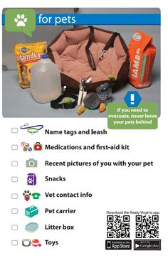 What to include in your pet emergency kit. If you need to evacuate, never leave your pets behind. #getready