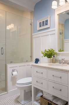 Contemporary 3/4 Bathroom with Frameless Shower Doors By Dulles Glass and Mirror, European Cabinets, Limestone counters