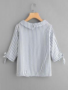 Vertical Striped Tie Cuff Blouse -SheIn(Sheinside)